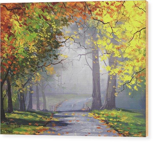 Autumn Mt Wilson Wood Print
