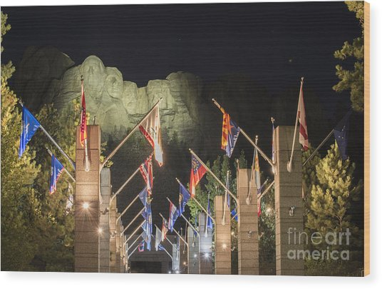 Avenue Of Flags Wood Print