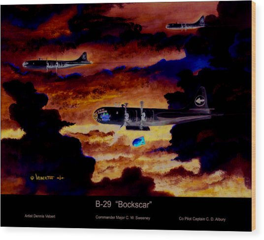 B-29 Bockscar Wood Print by Dennis Vebert