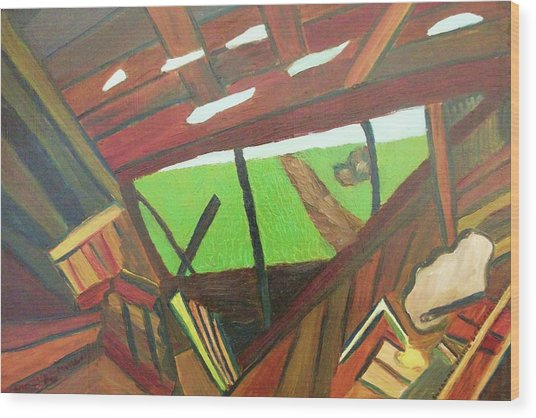 Backyard View Wood Print by Suzanne  Marie Leclair