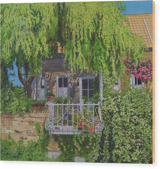 Balcony With Flowers Wood Print by Constance Drescher