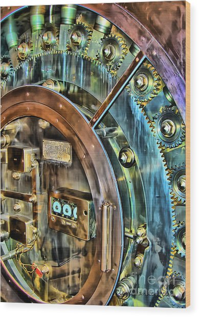 Bank Vault Door Wood Print by Clare VanderVeen