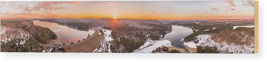 Barkhamsted Reservoir And Saville Dam In Connecticut, Sunrise Panorama Wood Print