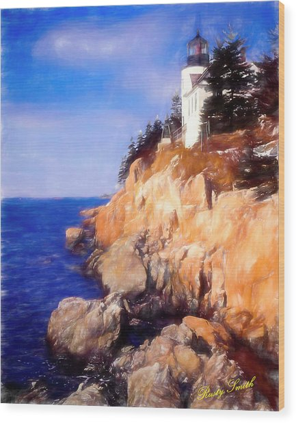Bass Harbor Lighthouse,acadia Nat. Park Maine. Wood Print