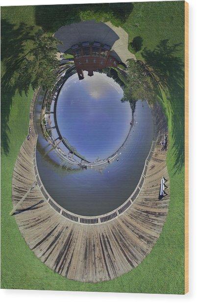 Battleship Cove Little Planet Wood Print by Christopher Blake