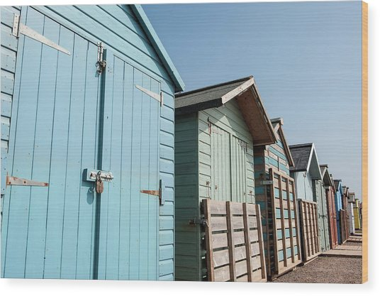 Beach Huts Vi Wood Print