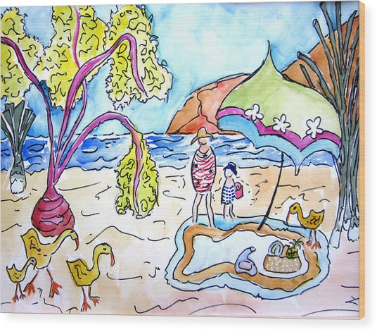 Beach Picnic Wood Print by Suzanne Stofer