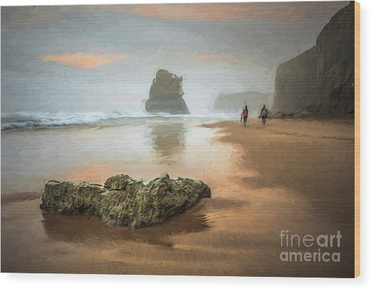 Beach Stroll Wood Print