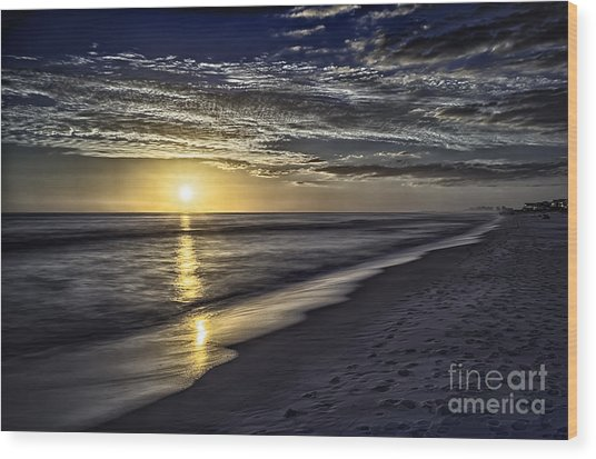 Beach Sunset 1021b Wood Print
