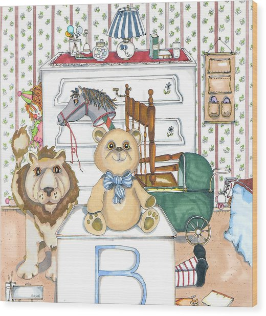 Bear On Block Wood Print by Susan Nelson