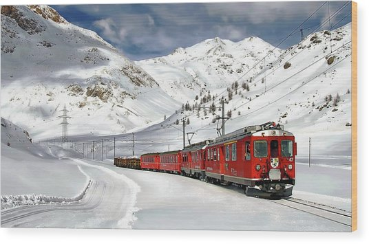 Bernina Winter Express Wood Print