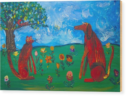 Wood Print featuring the painting Between Friends by AJ Brown