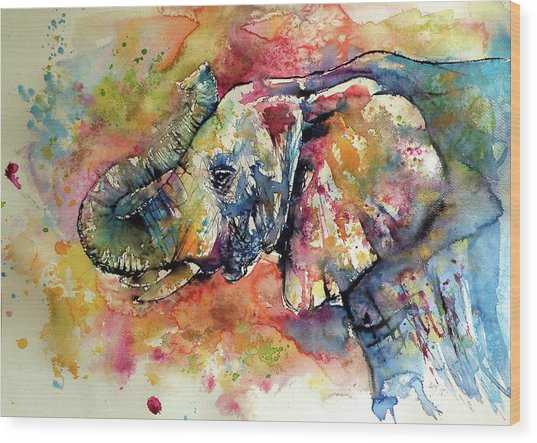 Big Colorful Elephant Wood Print