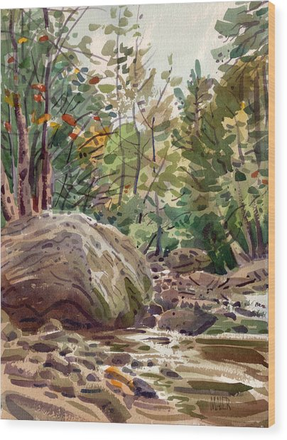 Big Rock At Sope Creek Wood Print by Donald Maier