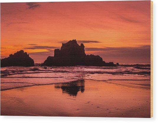 Big Sur Sunset Wood Print