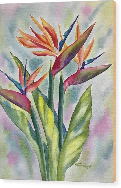 Bird Of Paradise Flowers Wood Print