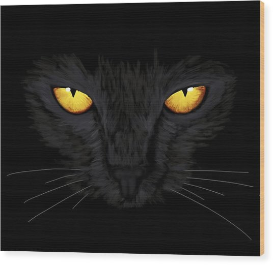 Wood Print featuring the painting Superstitious Cat by Anastasiya Malakhova