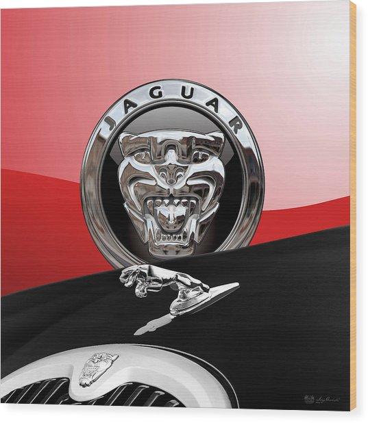 Black Jaguar - Hood Ornaments And 3 D Badge On Red Wood Print