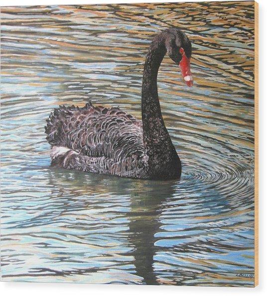 Black Swan On Water Wood Print by Leonie Bell