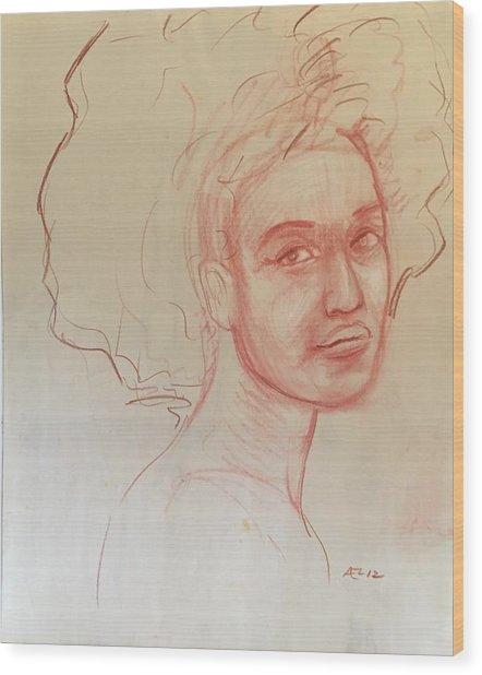 Black Woman 2 Wood Print by Alejandro Lopez-Tasso