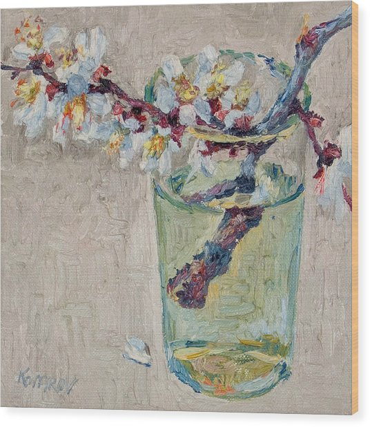 Blossoming Branch In A Glass Wood Print by Vitali Komarov