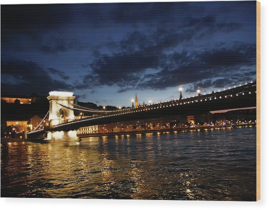 Blue Danube Sunset Budapest Wood Print