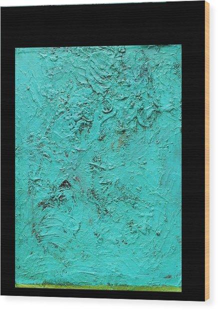 Aqua Blue And Green No 11 Oil On Board 16 X 20  Wood Print