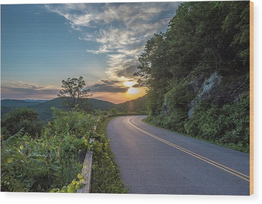 Blue Ridge Parkway Morning Sun Wood Print