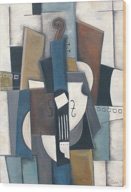 Blue Violin Wood Print