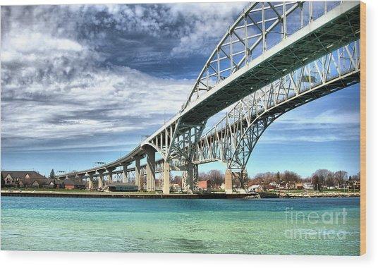Blue Water Bridge Wood Print