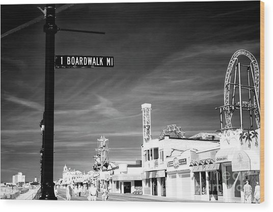 1 Boardwalk Mile At Ocean City Infrared Wood Print by John Rizzuto