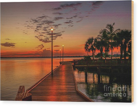 Boardwalk Sunrise Wood Print