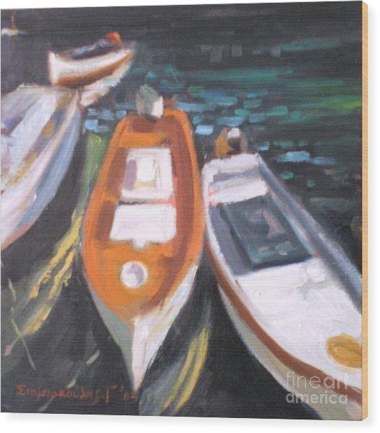 Boats Wood Print by George Siaba