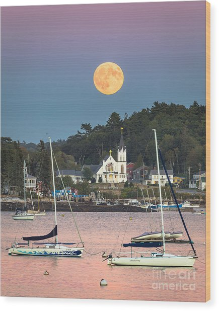 Boothbay Harbor Supermoon Wood Print