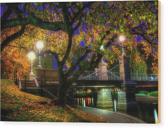 Boston Public Garden Lagoon Bridge In Autumn Wood Print