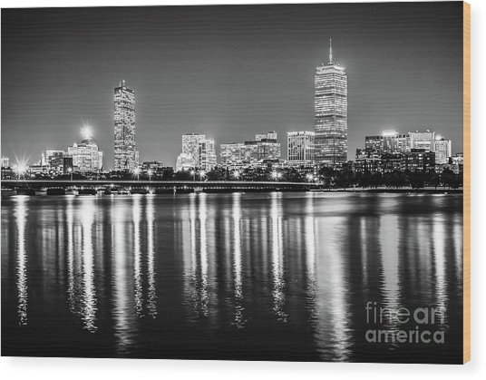 Boston Skyline At Night Black And White Picture Wood Print