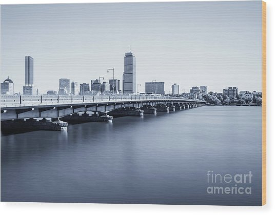 Boston Skyline Harvard Bridge Back Bay Photo Wood Print