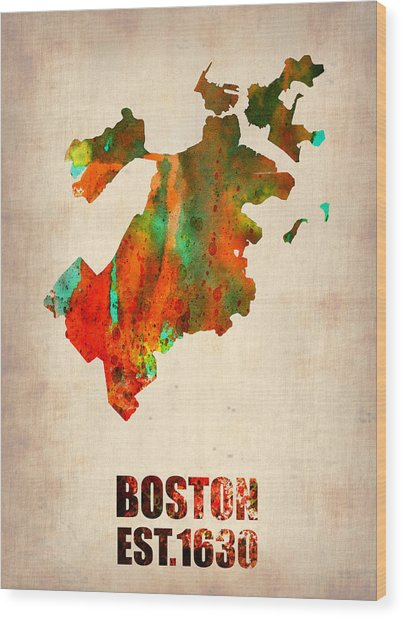 Boston Watercolor Map  Wood Print