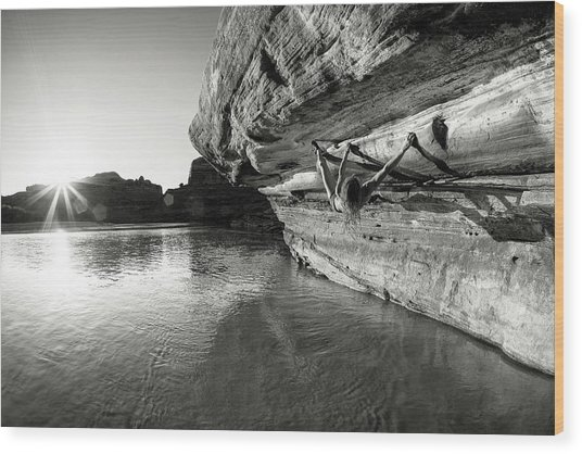 Bouldering Above River Wood Print