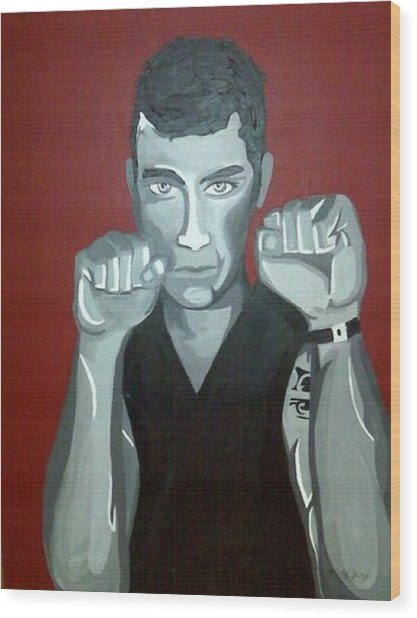 Boxer Sees Red Wood Print by Misty VanPool