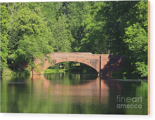 Bridge Reflection In The Spring Wood Print