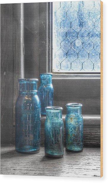 Bromo Seltzer Vintage Glass Bottles Wood Print