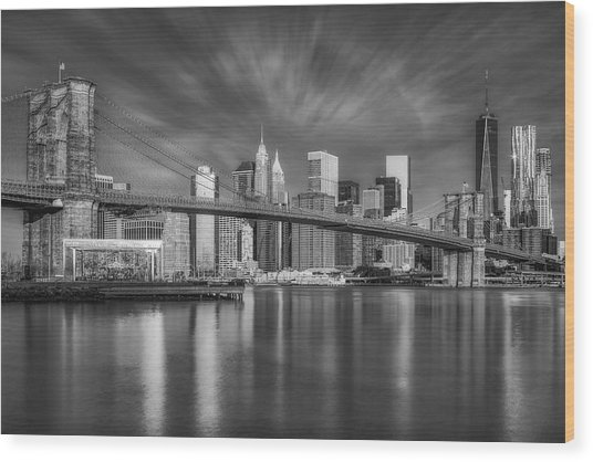 Brooklyn Bridge From Dumbo Wood Print