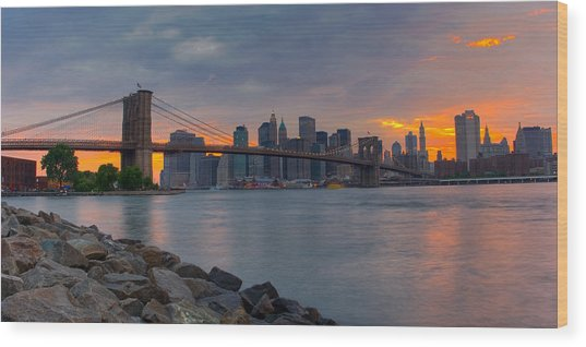 Brooklyn Sunset Wood Print