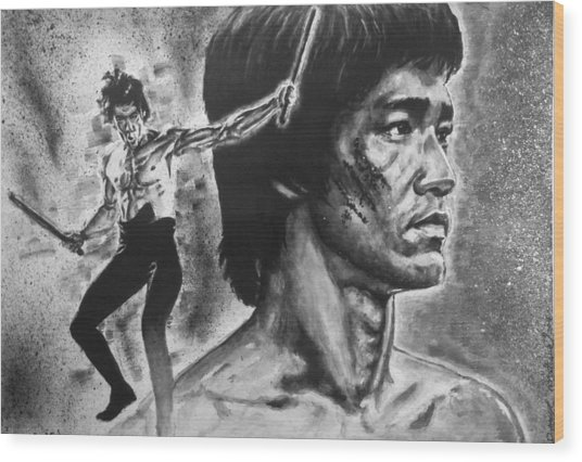 Bruce Lee Wood Print