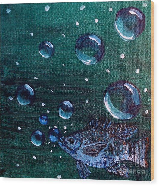 Wood Print featuring the painting Bubble Fish Underwater by Janelle Dey