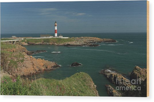 Buchan Ness Lighthouse And The North Sea Wood Print