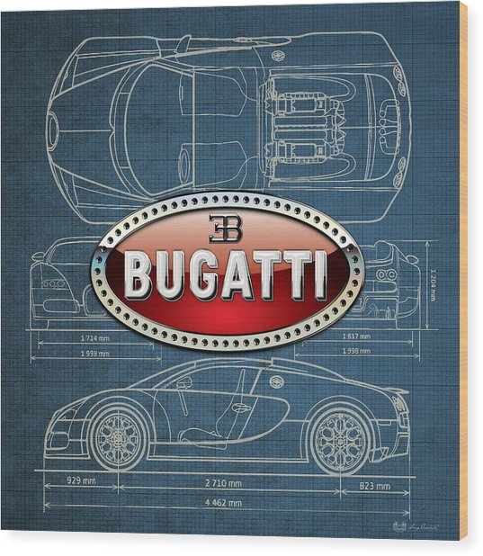 Bugatti 3 D Badge Over Bugatti Veyron Grand Sport Blueprint  Wood Print