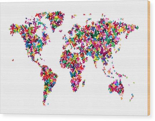 Butterflies Map Of The World Wood Print