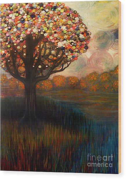 Button Tree 0001 Wood Print